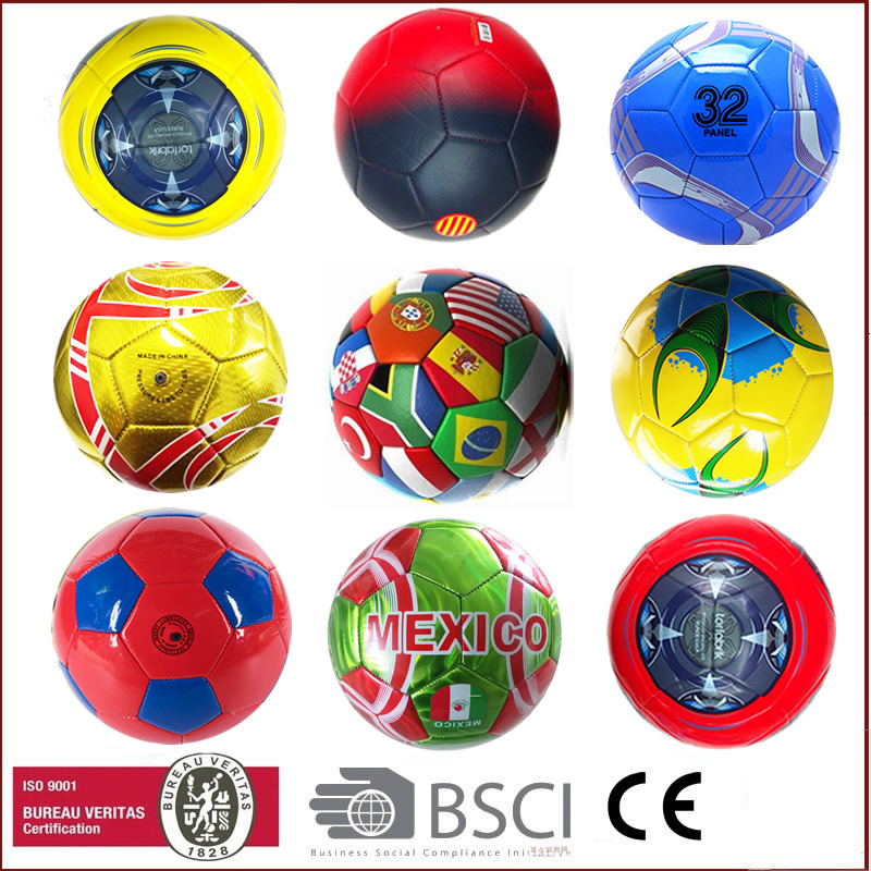 2016 machine stitched official size PVC football soccer ball