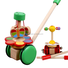 High Quality Wooden Single Rod Toddler Walker Toy Baby Trolley For Kids Baby Walking Toys
