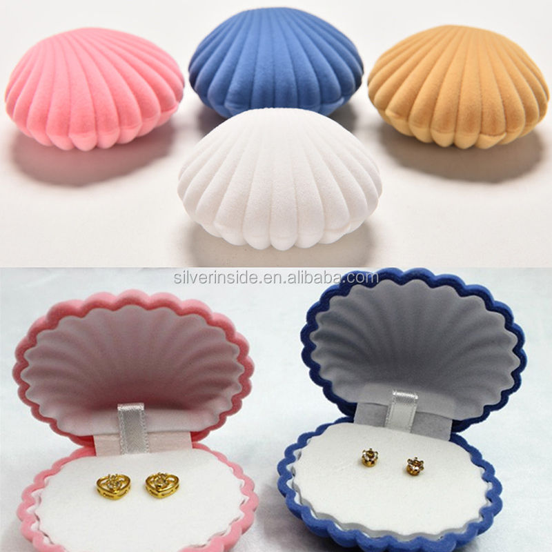 High Quality Shell Velvet Earring Jewelry Storage Box Christmas Gift Jewelry Box Wholesale
