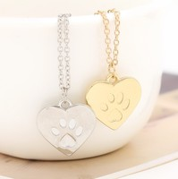 Pet Lovers Jewelry Stainless Steel Gold Silver Heart Shaped Paw Print Pendant Necklace