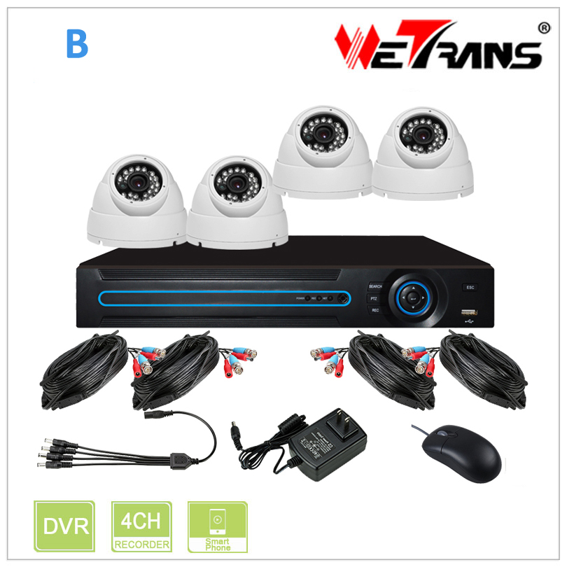 HD 720P Camera 20m IR View Waterproof P2P CCTV DVR 4CH Security Camera HD KIT-2404S-B 4ch CCTV DIY KIT For Home Surveillance