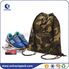 Eco Camouflage Drawstring Brown Canvas Backpack Bag With Printing