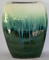 GREEN/WHITE LARGE SQUARE RUNING GLAZED CERAMIC VASE