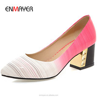 Fashion korean style pointed toe color washlight patent leather lady high heel shoes comfort chunky heel pumps women wholesale