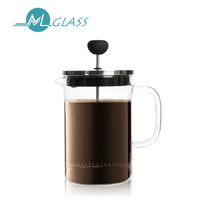 China handblown glassware french press stainless steel coffee maker OEM N6390