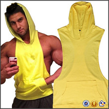 KY wholesale OEM Custom Design Men Bodybuilding Sleeveless Sweatshirt Muscle Stringer Hoodie Gym Racerback Fitness Tank Top