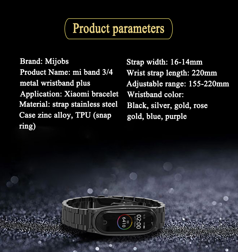 Mijobs hot sale stainless steel watch straps for miband 4 smart watch bands for mi band 3 strap
