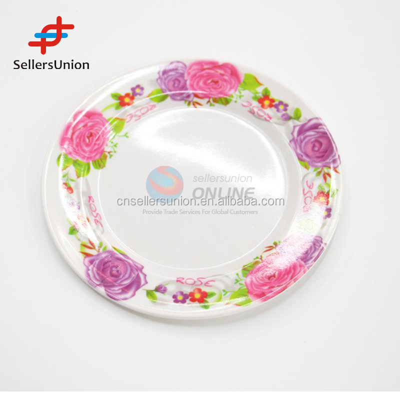 Export commission agent 2017 New design 16cm round flower pattern food plate