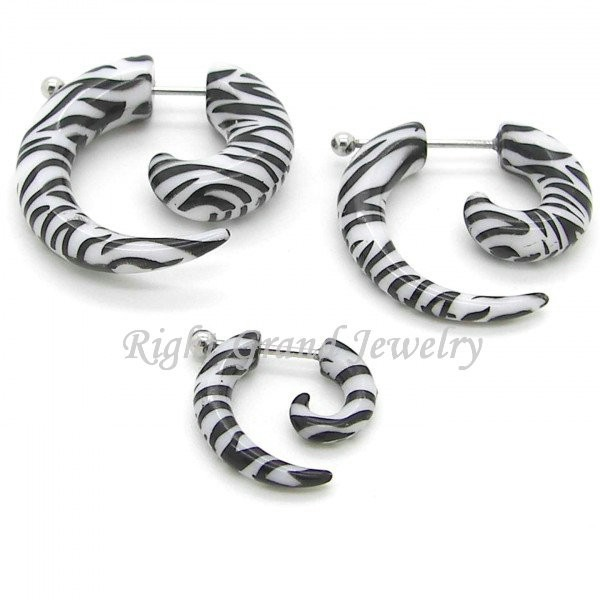 UV Acrylic Zebra Logo Pattern Fake Piercing Ear Spiral