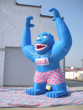 Blue inflatable advertising gorilla