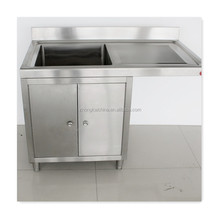 Professional metal kitchen sink base cabinet with drainboard/single bowl stainless steel sink with drainboard