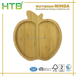 Wooden Dinner Dishes Apple shape Bamboo Dinner Plate
