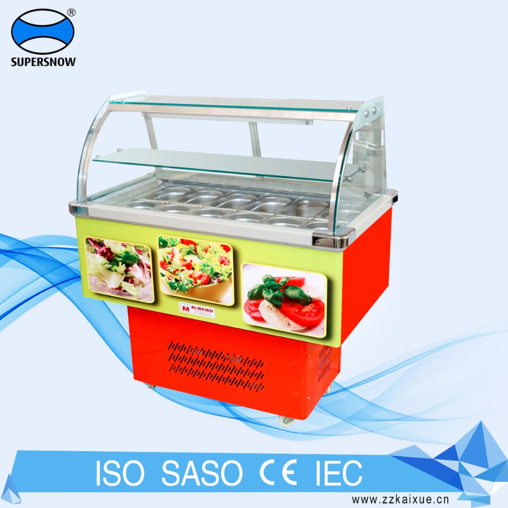 Big Curved Glass Showcase Portable Used Display Salad Bar Cooler