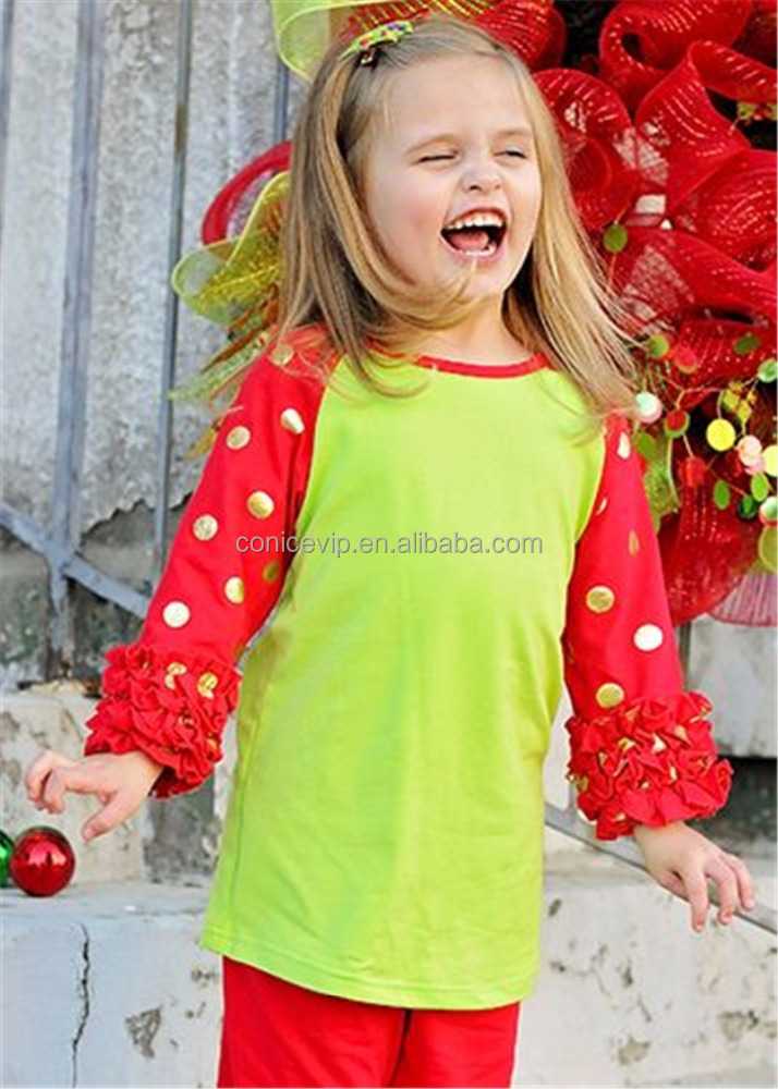 fall winter kids clothing green red cotton girls outfits clothes