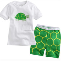 Summer Wear Boys Tortoise Print Clothing Set Kids Sleep Wear