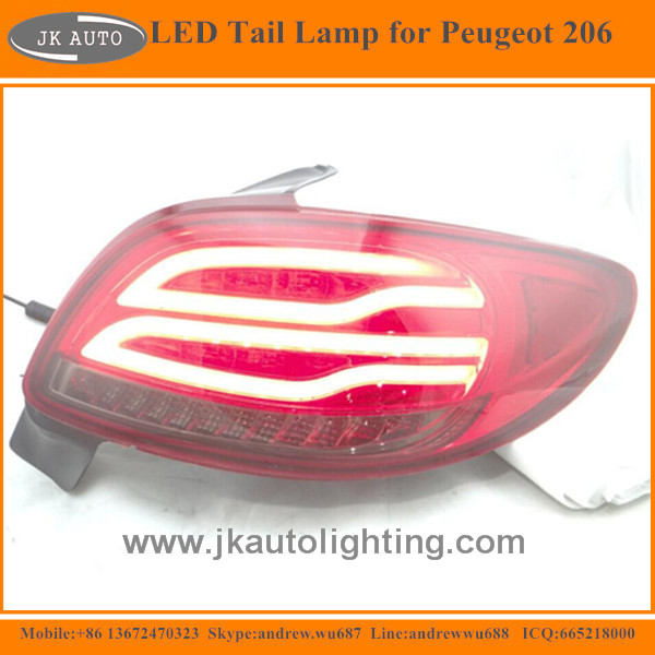 New Arrival High Quality LED Tail Lamp for Peugeot 206 Hot Selling Super Bright LED Tail Lights for Peugeot 206 LED Rear Lights