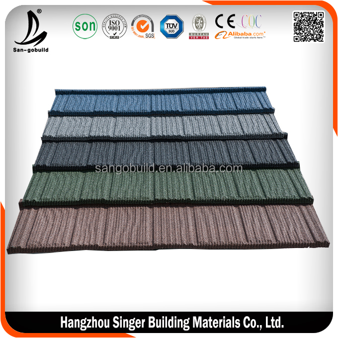 Construction Building Roofing Material Wood Type Stone Coated Brown Color Metal Roof Tile