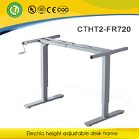 Space saving furniture & metal computer table with hand cranked & manual height adjustable desk frame