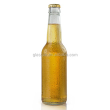 330ml Clear glass beer soda bottle with metal crown screw cap