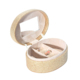 Fashion MDF Oval Gold PU Leather Combination Clamshell Ring Travel Case With Mirror Small Size Round Jewelry Box
