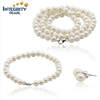 925 Sterling Silver Natural Freshwater Pearl Bridal Jewelry Set necklace earrings and ring set