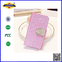 Popular Crystal Diamond Glitter Bling Flip Wallet Stand Case Cover For Iphone 5S 5C Laudtec