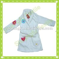 100% cotton velvet embroidered bathrobe/bath dress for children