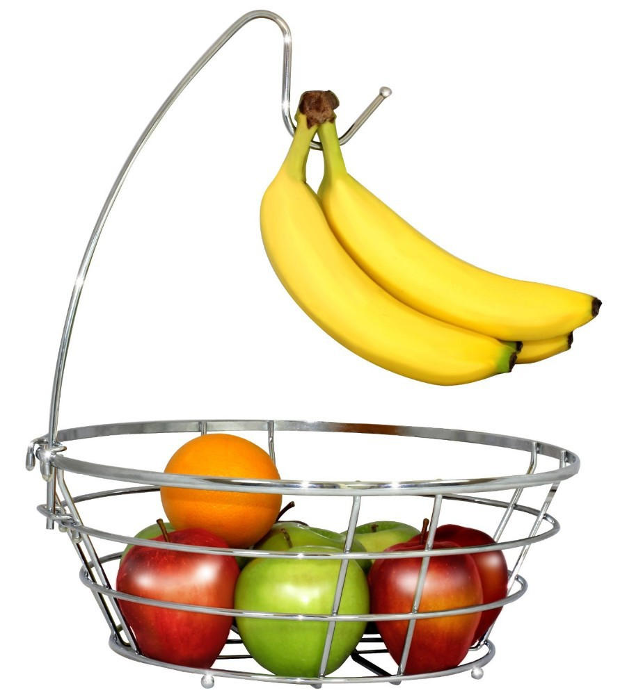 Cheap Metal Wire Fruit Basket With Banana Holder