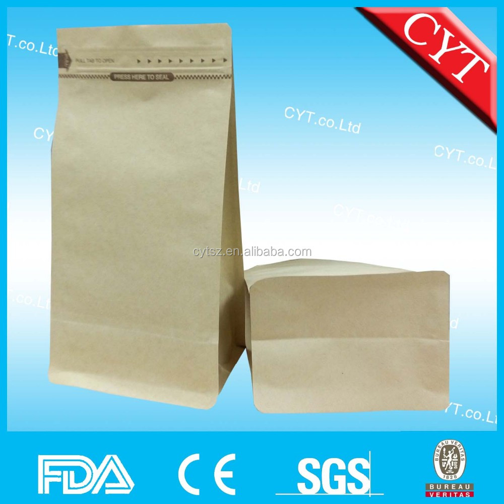 custom printing coffee bag ziplock stand up kraft paper bag