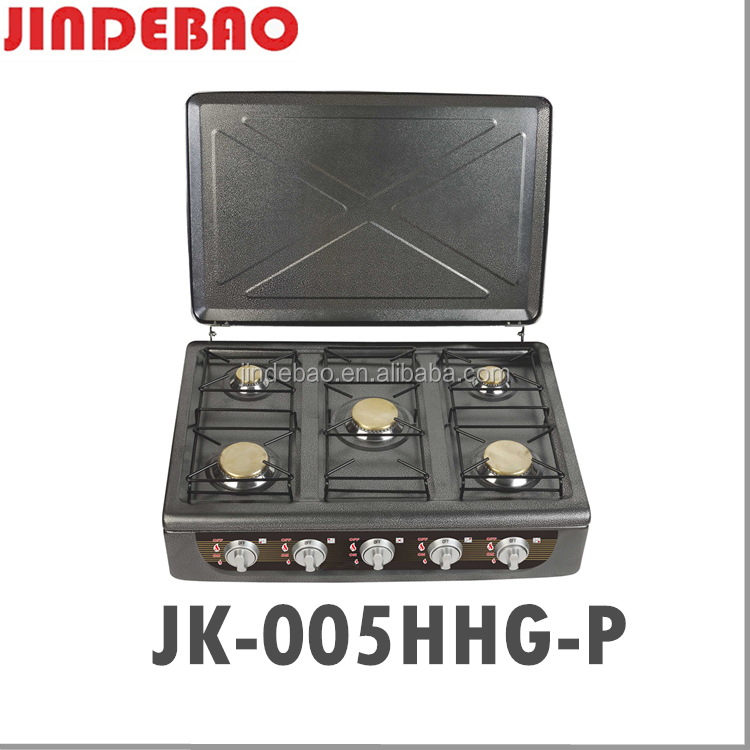 color coating 5 burner with cover gas stove JK-005HHG-P
