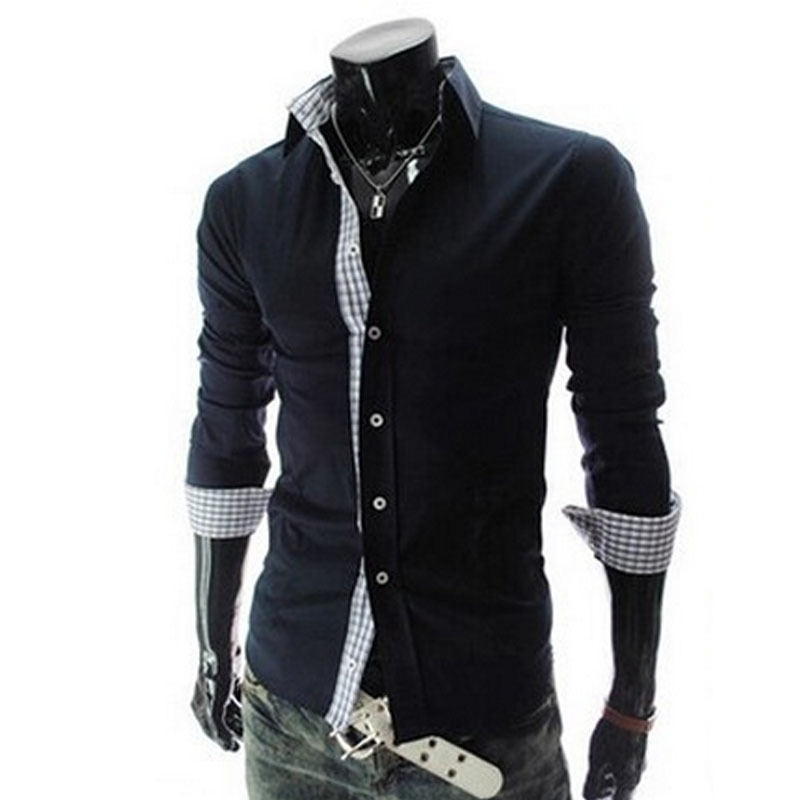 Black White 2014 New Top Brand Fashion Shirts Men Shirt Plaid Patchwork Stylish Long Sleeve Cardigans Male Clothes AX318 M-2XL