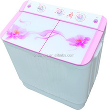 semi-automatic twin tub/stainless steel tub washing machine/washer with flat toughened glass top loading