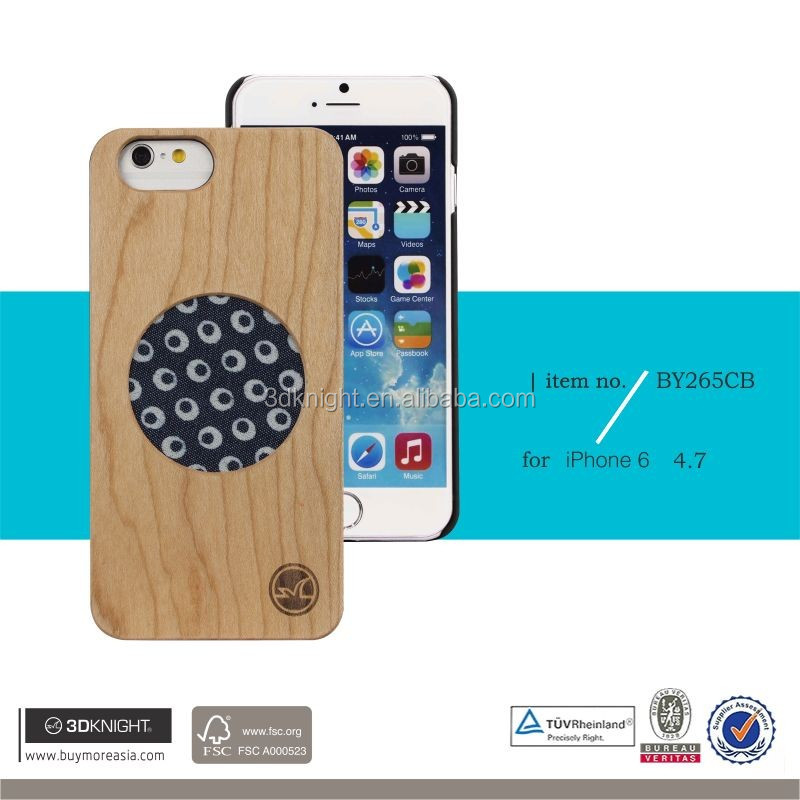 Fashion Design Real Wood Case for Iphone 6 6S, Wholesale Wooden Bamboo with Clothing Ultra Slim Cover for iPhone