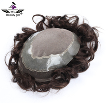 cheap real virgin hair replacement pieces thin skin men toupee short natural human hair topper for men hair wig images