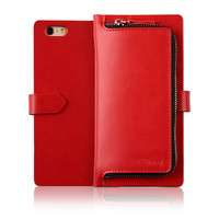 C&T ZIPPER POUCH Premium Leather CARD SLOT Flip Cover Wallet Case for Apple iPhone 6 Plus