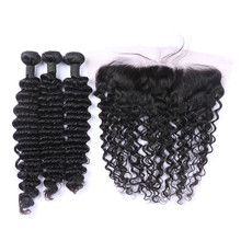 13x4 frontal lace closure with bundles unprocessed brazilian virgin hair deep wave with closure