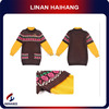 China manufacturer long sleeve pattern two-tone Girls knit dress