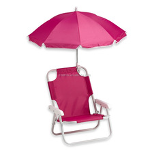 Beach chair with umbrella in pink