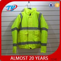 hi vis yellow polar fleece jacket with elastic cuff