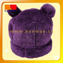 Fashion animal shape winter hat with purple fake fur front and fleece inside