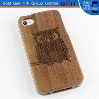 Owl Walnut Wooden Case For iPhone 4G Back Cover, Durable Carving Wooden Back Cover Case For iPhone 4G