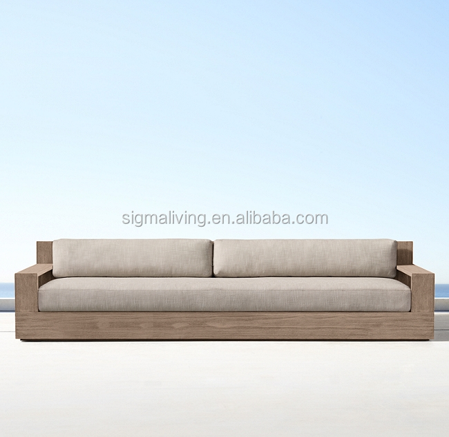 New arrival all weather outdoor furniture teak solid wood modular L-sectional sofa with coffee table