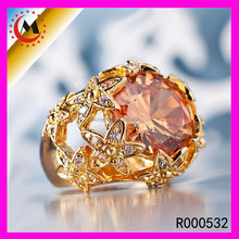 2017 Christmas girl friend gift latest wedding designs diamond engagement big yellow crystal gold ring