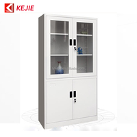 China Popular Sale High Quality Office Used 2 Swing Glass Doors Kd File Cabinet Metal Storage Cupboard in Jordan