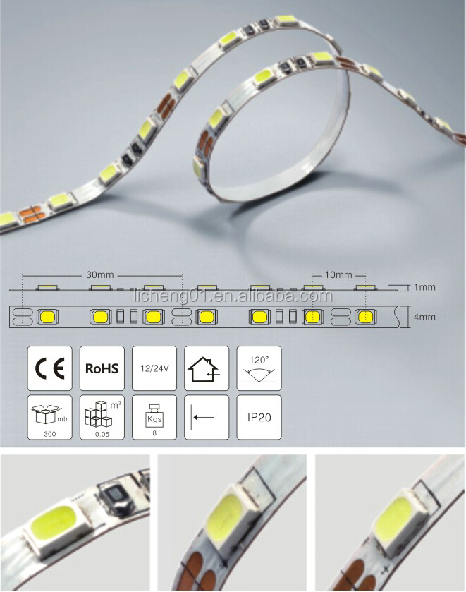 High Efficiency And Energy Saving Epistar 4mm IP20 Flexible LED Strip Light