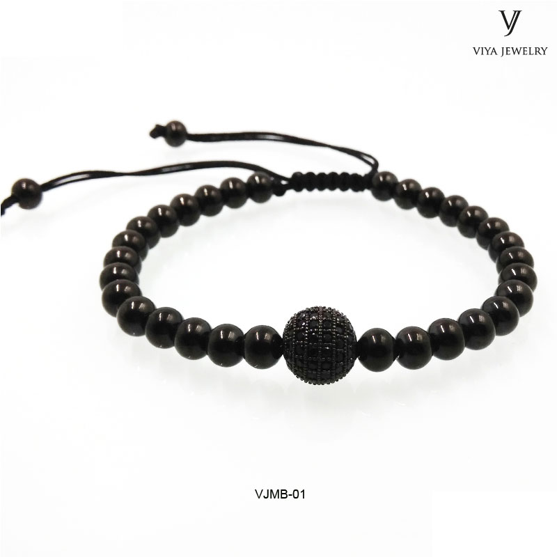Real leather string stone beads bracelet new design high quality handmade ladies' bracelet