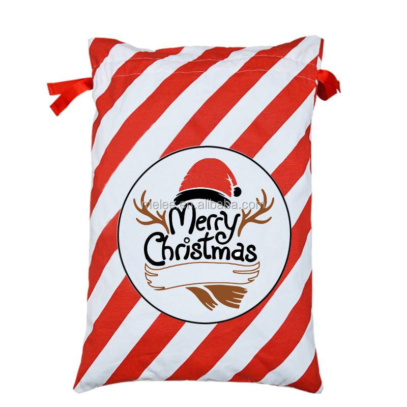 Merry Christmas Gift Bags New Large Canvas Santa Sack 9 Pattern Organic Heavy Canvas Drawstring Bag dhl free shipping