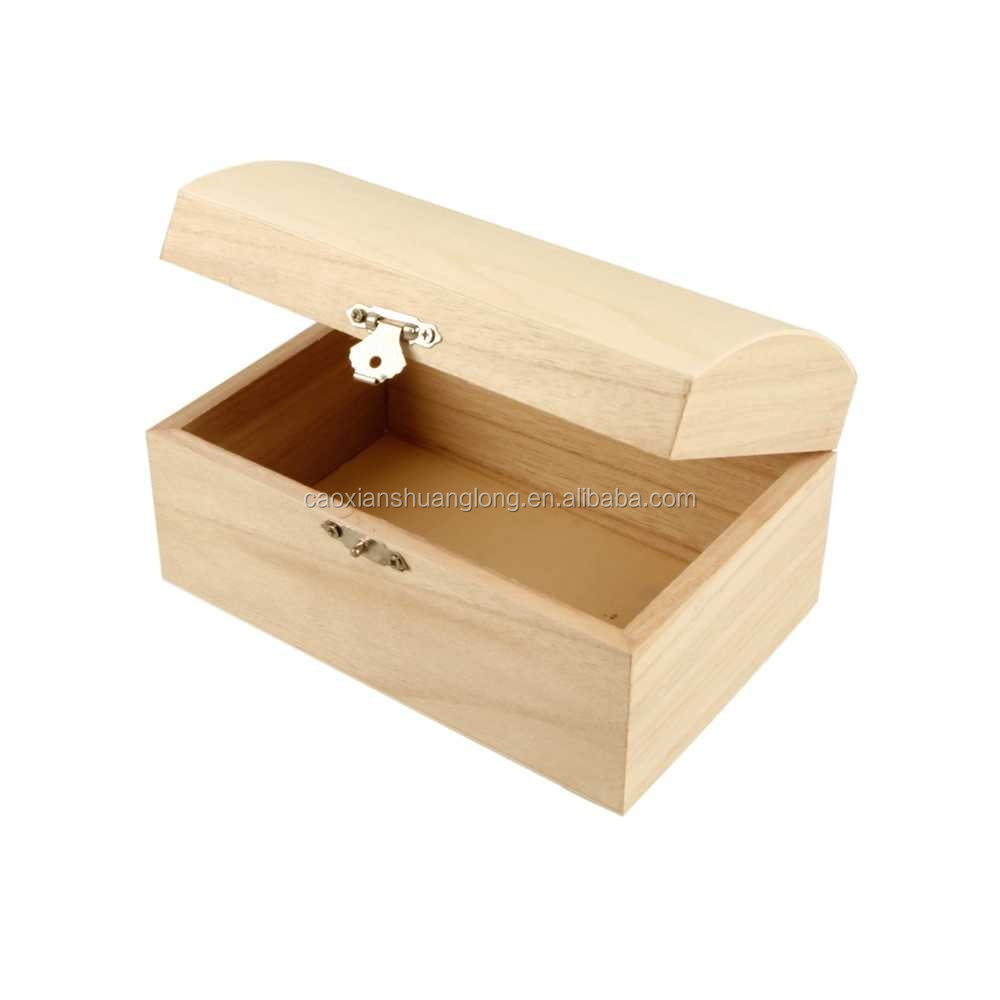 Wooden Treasure Chest with Curved Lid and Metal Clasp