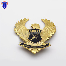 russian enamel gold plated military pin badge with falcon design