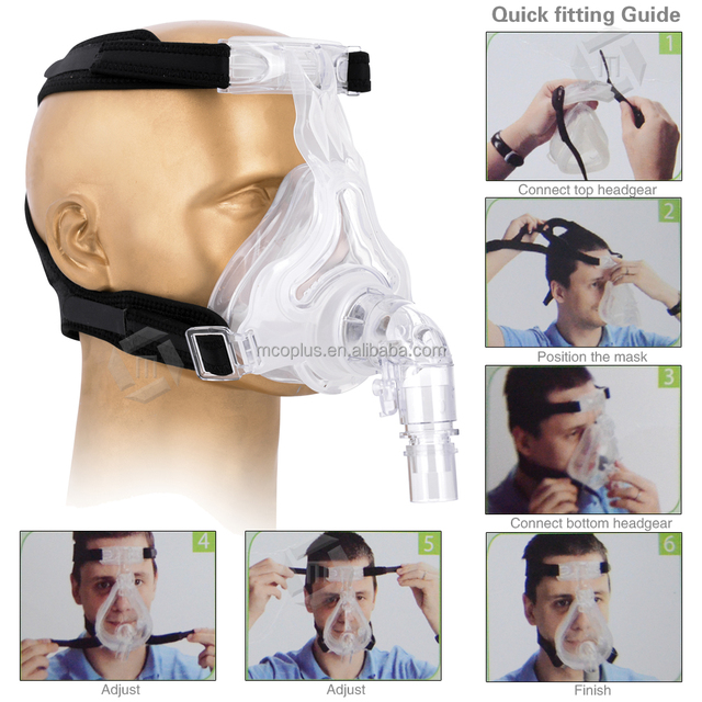 Mcoplus Headgear Full Face CPAP Sleep Aids Mask FM-02 with Silicone Cushion FDA (Large Size)